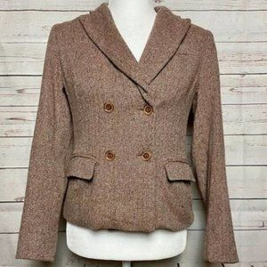 Talbots Wool Blazer Brown Tweed Jacket 6 Petite